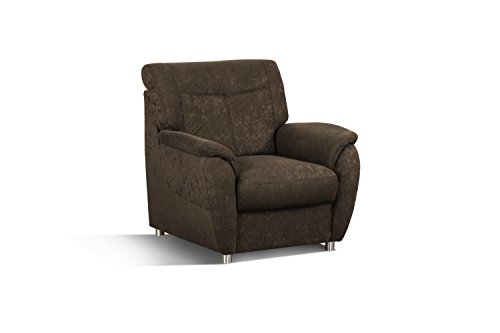 Cavadore Sessel Sunuma / Dunkelbrauner Polstersessel mit Federkern passend zur Couch Sunuma / Modernes Design / Größe: 95 x 91 x 90 cm (BxHxT) / Farbe: Dunkelbraun