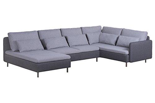 Cavadore Wohnlandschaft Scrubbles, U-Couch im Material-Mix, 328 x 73 x 196 cm (BxHxT), Hellgrau, grau