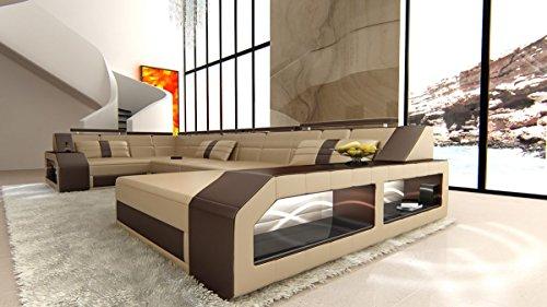 Leder Wohnlandschaft Arezzo U Form sandbeige-dunkelbraun Sofa Ledersofa Couch Ledercouch Ecksofa LED Licht Kopfstützen Designersofa