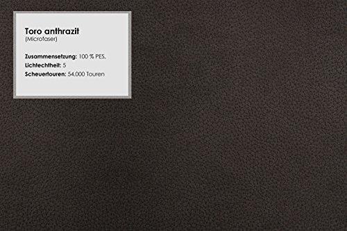Cavadore Polstersessel Gingle / Sessel mit Federkern fürs Wohnzimmer / Passend zur Sofagarnitur Gingle / Klassisches Design / Größe: 102 x 89 x 88 cm (BxHxT) / Mikrofaser-Bezug in Wildlederoptik / Farbe: Anthrazit (dunkelgrau)