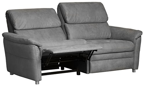 Cavadore 3-Sitzer Sofa Chalsay inkl. Relaxfunktion / mit Federkern / moderne Couch / Größe: 179 x 94 x 92 cm (BxHxT) / Farbe: Grau (argent)