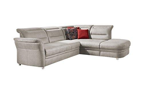 Cavadore Eck-Sofa Bontlei / Federkern-Couch mit Schlaffunktion und Ottomane / Inkl. Stauraum /  261 x 88 x 237 cm (BxHxT) / Mikrofaser hellgrau