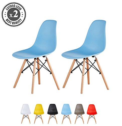 MCC Retro Design Stühle LIA im 2er Set, Eiffelturm inspirierter Style für Küche, Büro, Lounge, Konfernzzimmer etc., 6 Farben, KULT (blau)