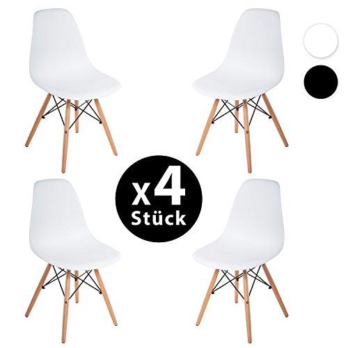 Merax® 4 x Set Wohnzimmerstuhl Esszimmerstuhl Bürostuhl Kunststoff chair Eiffel/Eiffelturm Weiß/ Schwarz (weiss)
