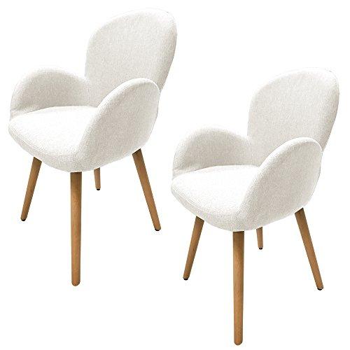 MCTECH® 2x Stuhl Esszimmerstühle Esszimmerstuhl Stuhlgruppe Konferenzstuhl Küchenstuhl Armlehne Büro mit Massivholz Eiche Bein (Type G, Beige)
