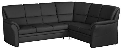 Cavadore 4342 Wohnlandschaft Klariza, 3-Sitzer mit Bett links, Spitzecke mit Relaxfunktion Plus, 2-Sitzer mit Schublade rechts, 264 x 102 x 214 cm, bison schwarz 780