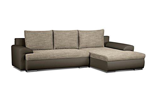 Cavadore Ecksofa Leriot / Sofa mit Strukturstoff und Kunstleder / Longchair rechts oder links montierbar / Inkl. drei Rückenkissen / 262 x 86 x 163 cm (BxHxT) / Braun - Hellbraun