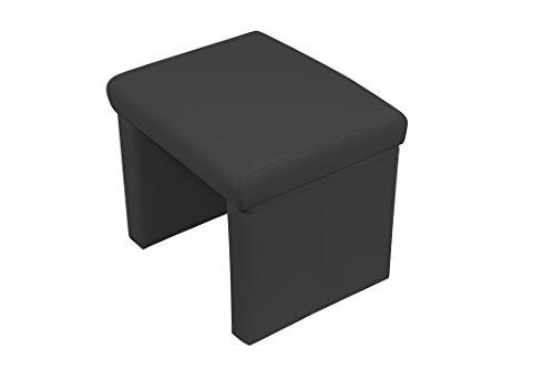 CAVADORE gepolsterter Hocker CHARISSE/Sitzhocker für Eckbank in Kunstleder Schwarz/Fußablage Hocker in Schwarz/Mit pflegeleichtem Kunstlederbezug/55 x 45 x 48 cm (B x T x H)