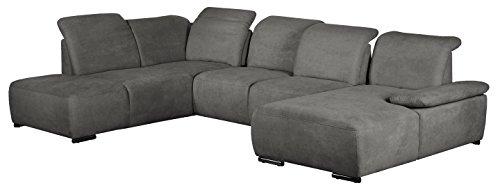 Cavadore Wohnlandschaft Tabagos / U-Form mit Ottomane links / XXL Couch mit Sitztiefenverstellung / Kopfteilverstellung / 364 x 85-96 x 248 (B x H x T) / Farbe: Fango (grau)