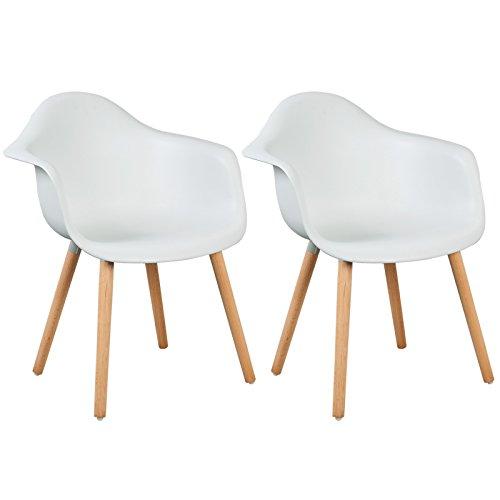 WOLTU BH37ws-2 Esszimmerstühle 2er Set Esszimmerstuhl mit Lehne Design Stuhl Küchenstuhl Holz Weiß