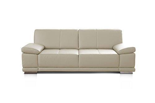 CAVADORE 2,5-Sitzer Ledersofa Corianne/Kleines Sofa in hochwertigem Echtleder und modernem Design/Mit Armteilverstellung/Größe: 192 x 80 x 99 (BxHxT)/Bezug: Echtleder weiß