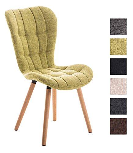 CLP Esszimmerstuhl ELDA mit hochwertiger Polsterung und Stoffbezug | Lehnstuhl mit robustem Holzgestell | Polsterstuhl mit stilvollen Ziernähten | Besucherstuhl mit einer Sitzhöhe von 46 cm Hellgrün