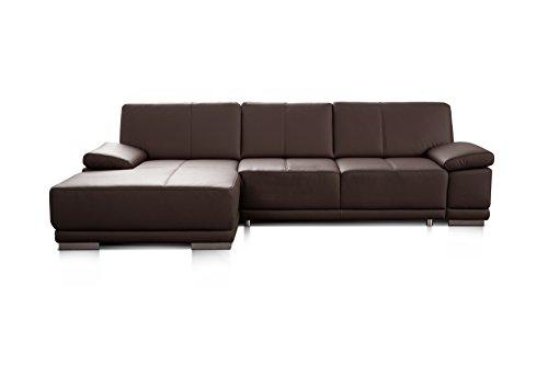Cavadore 3053 Ledersofa in L-Form Corianne / Couch L-Form in Echtlder und modernem Design / Inkl. beidseitiger Armteilverstellung und Longchair links / Größe: 282 x 80 x 162 (BxHxT) / Bezug: Echtleder dunkelbraun (mocca)