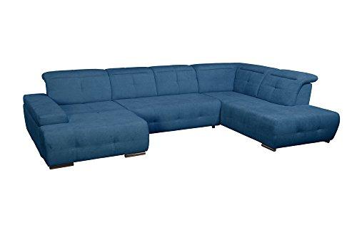 Cavadore Wohnlandschaft Mistrel / Sofa U-Form mit Kopfteilfunktion / XXL Sofalandschaft mit Longchair links / Mit Bettfunktion und großer Liegefläche (125 x 270) / Maße: 343 x 77-93 x 228 (B x H x T) / Farbe: Blau