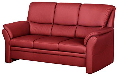 Cavadore 4342 Polstergarnituren Klariza, 3-Sitzer, 2-Sitzer, Sessel, Leder Punch feuerrot kombiniert mit Kunstleder, rot