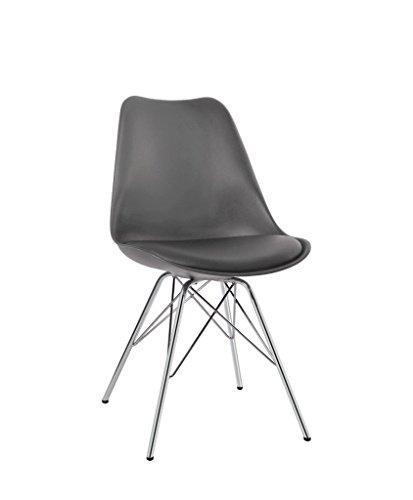 Esszimmerstuhl 2er Set in Grau Küchenstuhl Kunststoff mit SItzkissen Stuhl Vintage Design Retro Duhome 0771