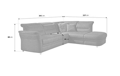 Cavadore Eck-Sofa Bontlei / Polster-Couch mit Ottomane und Federkern / 261 x 88 x 237 cm (BxHxT) / Mikrofaser braun