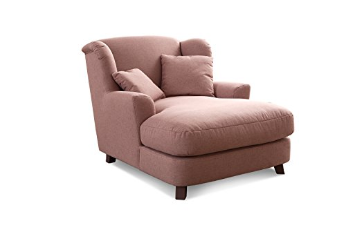 CAVADORE XXL-Sessel Assado/Großer Polstersessel in rosa mit Holzfüßen, großer Sitzfläche, Polsterung und 2 weichen Zierkissen/109x104x145 (BxHxT)