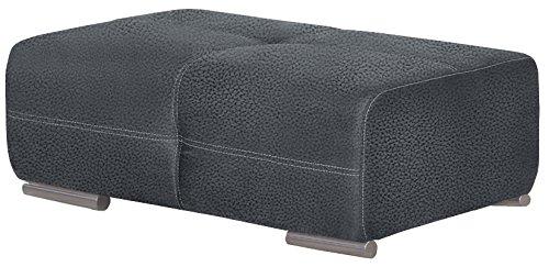 Cavadore 5032 Hocker Binato / Beistellhocker für Wohnzimmer / Füße: Metall verchromt / Maße: 108 x 42 x 71 cm (BxHxT) / Farbe: Toro Anthrazit in Lederoptik