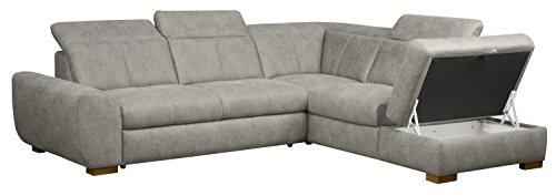 Cavadore 5129 Polsterecke Bules, 3-Sitzer mit Bettfunktion echt bezogen links, Spitzecke, Abschlusselement 1-sitzig mit Stauraum und Kopfteilverstellung rechts, 274 x 81 x 232 cm, Iguana silver 02