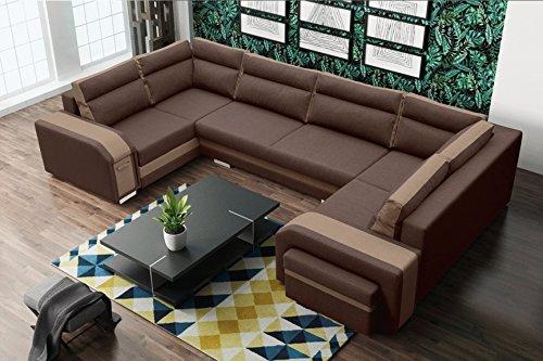 Furnistad - Wohnlandschaft FUTURE - U-Form Sofa (Braun + Hellbraun, Option rechts)