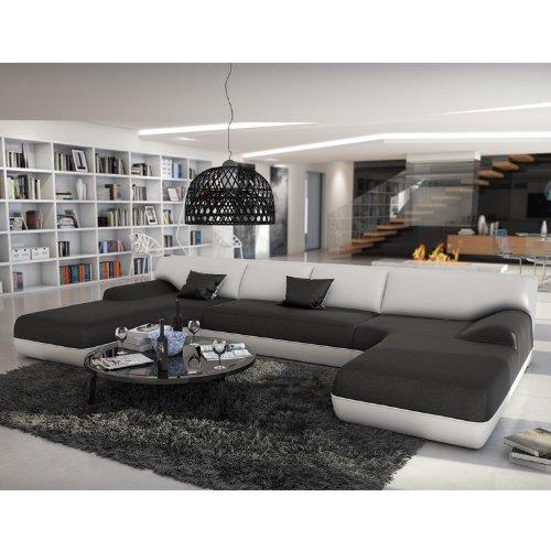Große Wohn-Landschaft mit Kunstleder Bezug schwarz / weiß 385x220 cm U-Form | Diva-U | Moderne Sofa-Garnitur XXL mit 2 Ottomanen | Polster-Couch für Wohnzimmer schwarz / weiss 385cm x 220cm