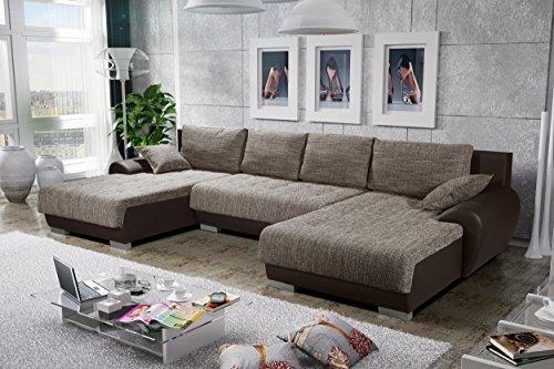 Sofa Couchgarnitur Couch Sofagarnitur LEON 8 U Polstergarnitur Polsterecke Wohnlandschaft mit Schlaffunktion