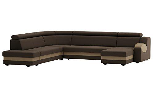 große Ecksofa Sofa Eckcouch Couch mit Schlaffunktion und Bettkasten mit Hocker Ottomane U-Form Schlafsofa Bettsofa Polstergarnitur Wohnlandschaft - MATT U (Ecksofa Rechts, Braun)