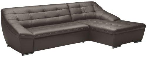 Cavadore Ecksofa Lucas / Sofa in L-Form in Kunstleder mit Steppung / Longchair rechts / 287 x 81 x 165 (BxHxT) / Kunstleder grau