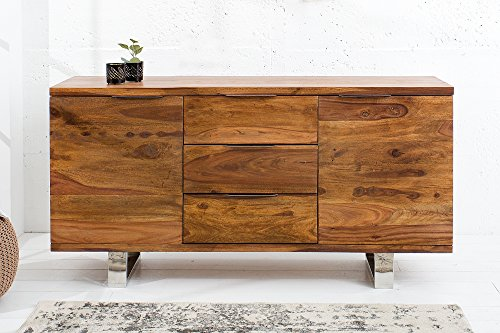 DuNord Design Sideboard Holz Massiv Anrichte Massivholz Kommode 160cm Sheesham Massiv natur STAGE Buffet