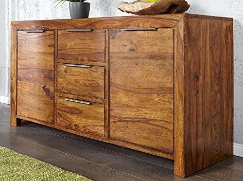 DuNord Design Sideboard Kommode Arona 135cm Massivholz Sheesham Palisander Massiv Holz Natur