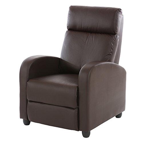 Fernsehsessel Relaxsessel Liege Sessel Denver, Kunstleder ~ braun