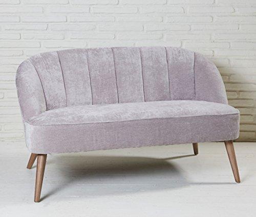 Graues Stoffsofa mit Samtbezug und Holzfüßen Polstersofa grau Sofa Designersofa