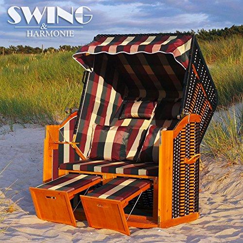 Luxus Strandkorb XXL - 136cm Rügen Volllieger Ostsee Sonneninsel Rattan Möbel Gartenliege Polyrattan (Mehrfarbig)