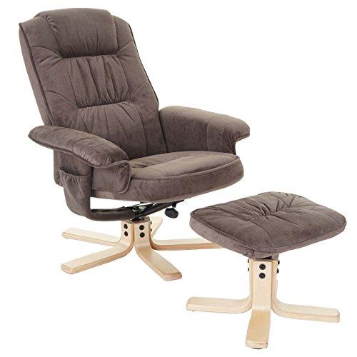 Mendler Relaxsessel M56, Fernsehsessel TV-Sessel mit Hocker, Textil ~ Wildlederimitat