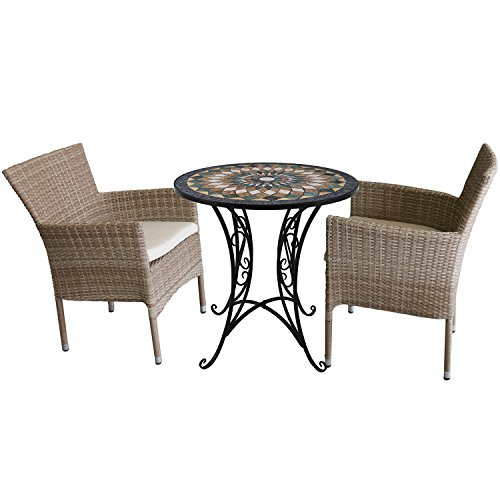 Multistore 2002 3tlg. Sitzgruppe Sitzgarnitur Mosaiktisch Rund 70xH72cm + 2X stapelbare Polyrattan Sessel Nature inkl. Sitzkissen Beige Bistrogarnitur