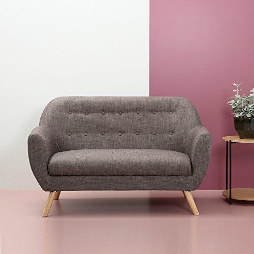 Multistore 2002 Polster Sofa 2-Sitzer Couch, 132x66x84cm, Strukturstoff in Grau, Holzbeine