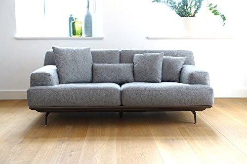 Sofa Lendum 3-Sitzer Grau Webstoff Polstersofa mit 4 Rückenkissen, Design mit Platform und zerlegbar, Daunen in Sitzkissen