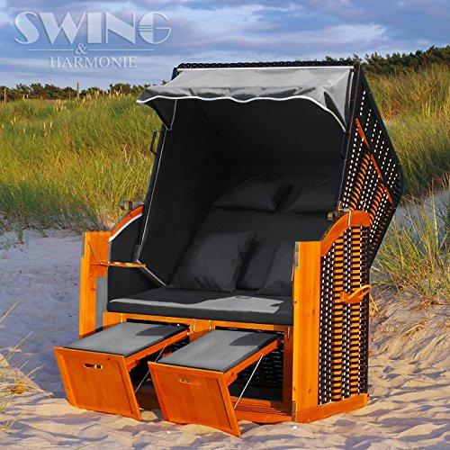 Swing & Harmonie Luxus Strandkorb XL - 118cm Rügen Volllieger Ostsee Sonneninsel Rattan Möbel Gartenliege Polyrattan (Anthrazit)