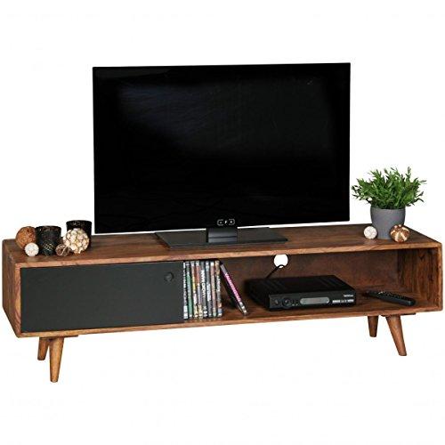 Wohnling TV Lowboard Repa, mit 1 Tür, Sheesham Massiv Holz, 140 x 40 x 35 cm, dunkelbraun/schwarz