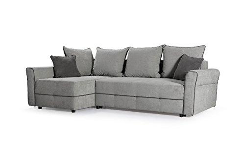 kleines Ecksofa Couch Polsterecke Polstersofa Eckcouch Velours Sofa Grau CHRISTA (Ecksofa Links)