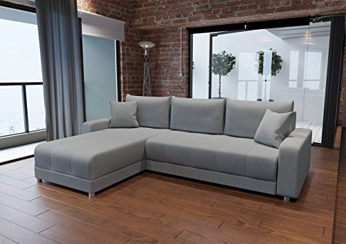 lifestyle4living Sofa, Ecksofa, Eckcouch, Schlafsofa, Schlafcouch, Gästebett, Gästebettfunktion, Bettkasten, Webstoff, Grau