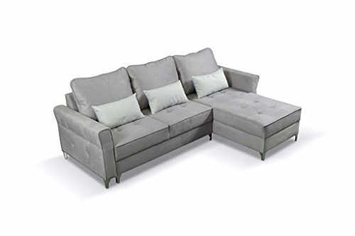 mb-moebel Ecksofa Eckcouch mit Bettkasten Sofa Couch L-Form Polsterecke Timor (Grau, Ecksofa Rechts)