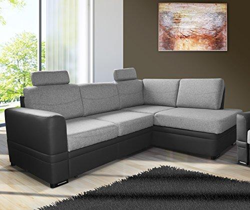 mb-moebel Ecksofa Eckcouch mit Bettkästen mit Schlaffunktion Couch Wohnlandschaft L-Form Polsterecke Bend (Grau, Ecksofa Rechts)