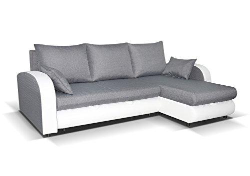 mb-moebel Ecksofa mit Schlaffunktion Eckcouch Sofa Couch mit 2 x Bettkästen L -Form Polsterecke Grau + Weiß Zella (Ecksofa Rechts)