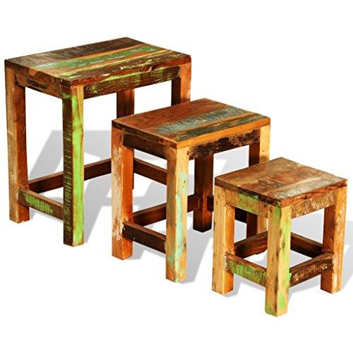 vidaXL 3x Teak Antik Satztisch Beistelltisch Couchtisch Nachttisch Tisch Vintage
