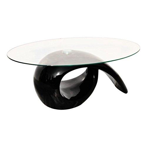 vidaXL Couchtisch Beistelltisch Kaffeetisch Tisch Glasplatte Hochglanz Schwarz