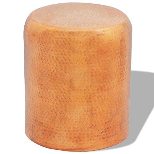 vidaXL Hocker Stuhl gehämmertes Alu Beistelltisch Couchtisch Messing/Kupferfarbe