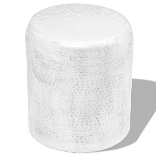 vidaXL Hocker Stuhl gehämmertes Alu Beistelltisch Couchtisch Sofatisch Silber