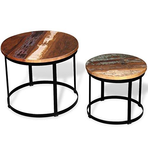 vidaXL Massivholz 2-tlg. Couchtisch-Set Beistelltisch Kaffeetisch Rund 40cm/50cm